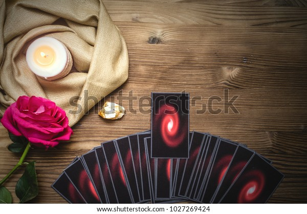 Tarot Cards Rose Flower On Fortune Stock Photo (Edit Now) 1027269424