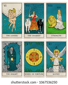 Tarot deck part 2 of 4, old style illustrations of cards 6 to 11.