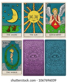Tarot deck part 4 of 4, old style illustration of cards 18 to 21 and two backs.