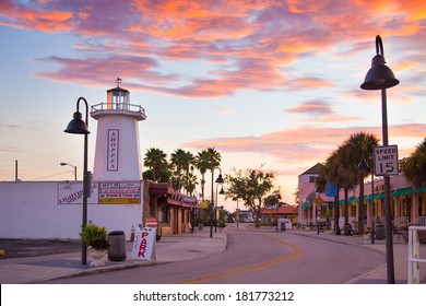 TARPON SPRINGS, FL - SEPT. 5, 2013:  View of Tarpon Springs, Florida at sunset. This historic city has the highest percentage of Greek Americans of any city in the US.