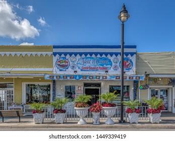 TARPON SPRINGS, FLORIDA - JUNE 30, 2019: Tarpon Springs, Florida. Historical town with a greek influence. Taste of Greece bakery and restaurant serving greek gourmet pastries.