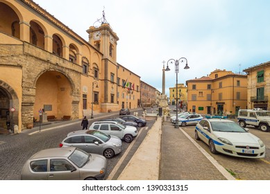 Tarquinia, Italy - 10 March 2019 - A characteristic view in the historic center of this gorgeous etruscan and medieval town in province of Viterbo, Tuscia, Lazio region, touristic attraction.