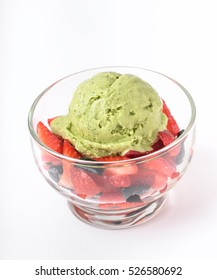 Tarragon Ice-Cream with Strawberry and Caramel Olive