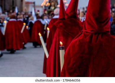 Tarragona, Catalonia, Spain -April 13, 2020: Semana Santa procession in Tarragona