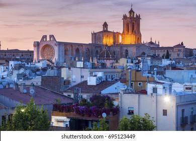 Tarragona Cathedral of Santa Maria at sunset. Tarragona, Catalonia, Spain.