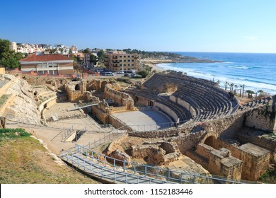 TARRAGONA, SPAIIN - JANUARY 28, 2018: Amphitheatre from the Roman city of Tarraco, now Tarragona. It was built in the 2nd century AD, sited close to the forum of this provincial capital.