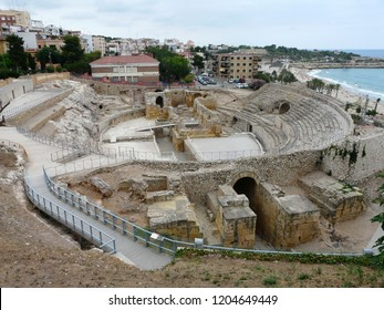 Tarragona  / Spain - 07.23.2017: Tarragona Amphitheatre became the convent for the order of the Trinity until 1780 when it became a prison for prisoners who were constructing the port.