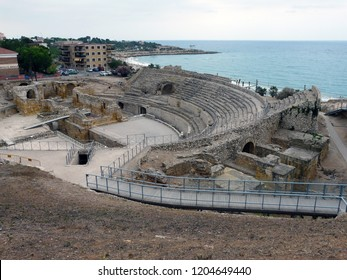 Tarragona  / Spain - 07.23.2017:  Tarragona Amphitheatre could house up to 15,000 spectators, and measured 130 by 102 metres (427 ft × 335 ft).