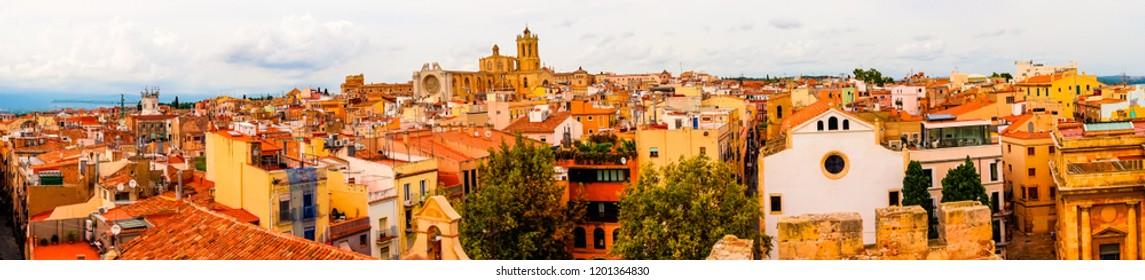 Tarragona, Spain 08 September 2018: A panorama of Tarragona Downtown
