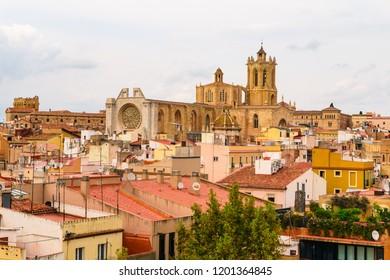 Tarragona, Spain 08 September 2018: Tarragona Cathedral and the downtown