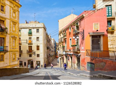 TARRAGONA, SPAIN - APRIL 25, 2018: Picturesque street in old quarter of the city