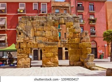 Tarragona, Spain - April 25, 2018:  Ruins of ancient Roman wall