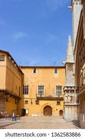 Tarragona, Spain - April 25, 2018: Medieval building near cathedral of Tarragona