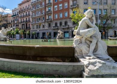 TARRAGONA, SPAIN - APRIL 4, 2019: Fountain of the Centenary decorated with sculptures on Rambla Nova