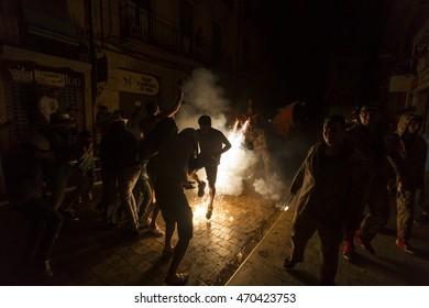 TARRAGONA - SPAIN, AUGUST -  Ball de Besties (Animal's dance) Group on Correfoc (Firerun) performance within the Sant Roc celebrations Aug 16, 2016 in Tarragona, Spain.