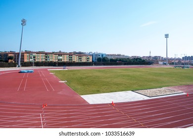 TARRAGONA, SPAIN - FEBRUARY 24, 2018: A view of the track and field of the Athletics Stadium, in the Mediterranean Ring, that will host the athletics competition during the XVII Mediterranean Games