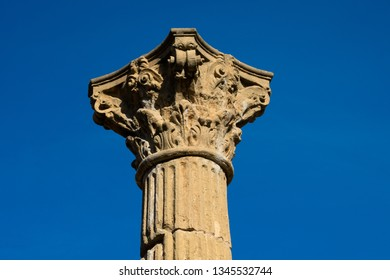 Tarragona, Spain. February 8, 2019. Colonial forum of Tarraco (Foro Colonial de Tarraco) an ancient Roman archaeological site located in the modern city of Tarragona