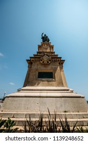 Tarragona, Spain - July 11, 2018: Wide angle view fo monument to the Aragonese Admiral Roger de Lluria in Tarragona