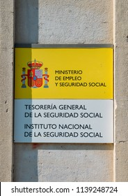 Tarragona, Spain - July 11, 2018: Sign to a Spanish government office of the Ministry of Social Security