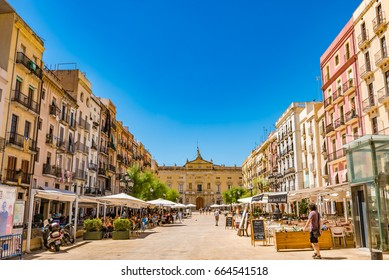 TARRAGONA, SPAIN - JULY 17, 2016: Placa de la Font in Tarragona, Spain. Tarragona is a port city located in northeast Spain on the Costa Daurada by the Mediterranean Sea.