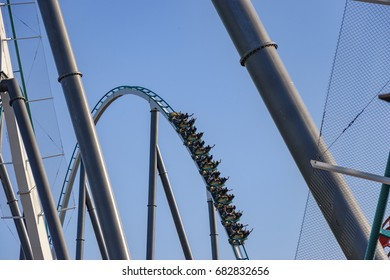 TARRAGONA, SPAIN - JUNE 2017: Shambhala is a steel Hyper Coaster roller coaster located at PortAventura in Salou, Spain. Its the 2nd tallest (256ft) and fastest hypercoaster (134 km/h) in Europe.