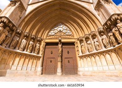 TARRAGONA, SPAIN - MAY 1, 2017: The main entrance to the Cathedral of Tarragona
