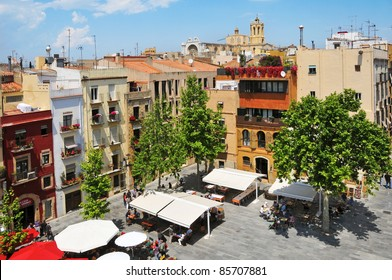 TARRAGONA, SPAIN - MAY 14:  old town with Cathedral at the background on May 14, 2011. This square, in the heart of Part Alta, the old town of Tarragona, is a meeting point in the city.