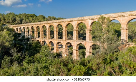 TARRAGONA, SPAIN  November 1, 2016: Les Ferreres Aqueduct, also known as Pont del, is an ancient bridge, part of the Roman aqueduct built to supply water to the ancient city of Tarragona.
