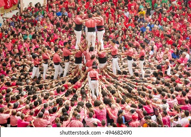 TARRAGONA, SPAIN - OCTOBER 2016 - Those typical catalan human towers are performed. The XXVI Tarragona Human Tower Competition on October 2, 2016 in Tarragona, Spain.
