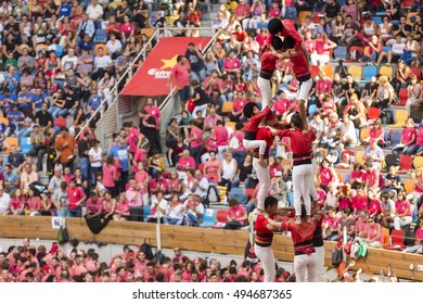 TARRAGONA, SPAIN - OCTOBER 2016 - Those typical catalan human towers are performed. The XXVI Tarragona Human Tower Competition on October 2, 2016 in Tarragona, Spain.