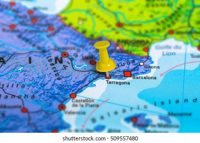 Tarragona in Spain pinned on colorful political map of Europe. Geopolitical school atlas. Tilt shift effect.