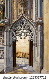 Tarragona, Spain - September, 06, 2018. Interior of Tarragona cathedral, Catalonia, Spain. The church is one of the most popular landmarks of Tarragona