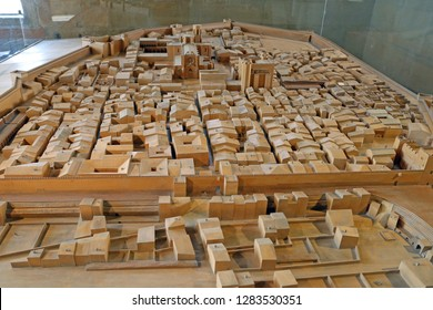 Tarragona, Spain - September, 06, 2018. Maquette of medieval Tarragona on display of Tarragona Archaeological museum. This maquette shows medieval buildings erected on the ruins of Roman Circus