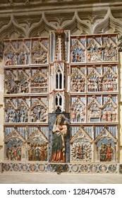 Tarragona, Spain - September, 06, 2018. Interior of Tarragona cathedral. It is the main landmark of medieval era in the city