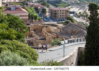 Tarragona, Spain - September, 07, 2018. Ruins of medieval church built on Roman amphitheatre arena in Tarragona. This visigothic church was erected in 5th Century using stones of the amphitheatre