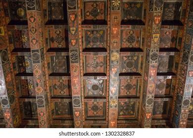 Tarragona , Spain - September, 6, 2018. Ceiling of Tarragona cathedral,which is the main medieval landmark of Tarragona.