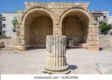 TARRAGONA,SPAIN-JUNE 26,2016: Ancient roman ruins, Forum, ancient Tarraco, Tarragona.