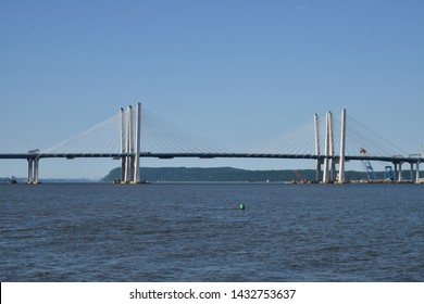 TARRYTOWN, NY JUNE 23, 2019: The New Tappan Zee Bridge (The Governor M. Cuomo) spans the Hudson River after the old bridge had been removed.