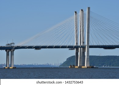 TARRYTOWN, NY JUNE 23, 2019: The Eastern Towers of the New Tappan Zee Bridge with the New York City skyline in the background.
