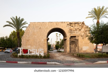 TARSUS, MERSIN, TURKEY, OCTOBER 14, 2018;  Cleopatra's Gate in Tarsus. The historical and touristic district of Mersin province is Tarsus.