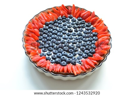 Tart Blueberries Strawberries White Cake Form Stock Photo