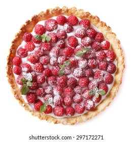 Tart with fresh raspberries and mint close-up isolated on white background