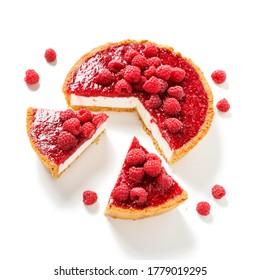 Tart , pie , cake with jellied fresh raspberries ( no bake cheesecake) isolated on white background