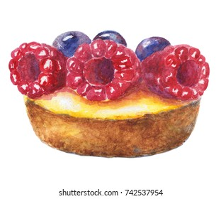 Tart with raspberry and blueberry. Watercolor illustration