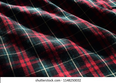 Tartan Material Fabric with Sunlight and Shadow Highlighting Details and Patterns