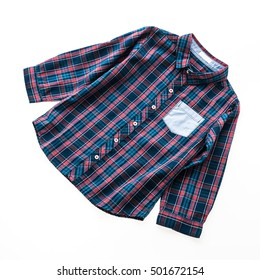 Tartan or Plaid shirt isolated on white background - Shutterstock ID 501672154