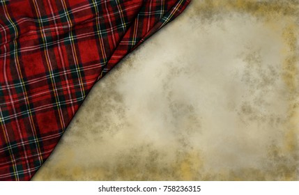 tartan textile on grunge background
