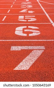 Tartan track in red with diferent numbers and white lines