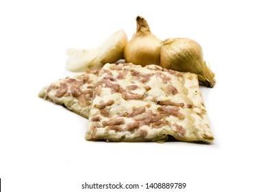 tarte flambee with onions isolated on white background