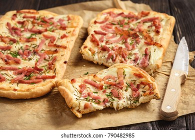 Tarte flambee, traditional alsatian pizza.